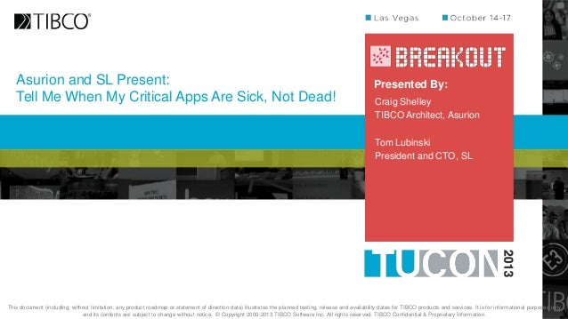 Asurion and SL Present: Tell Me When My Critical Apps Are Sick, Not Dead!  Presented By: Craig Shelley TIBCO Architect, As...