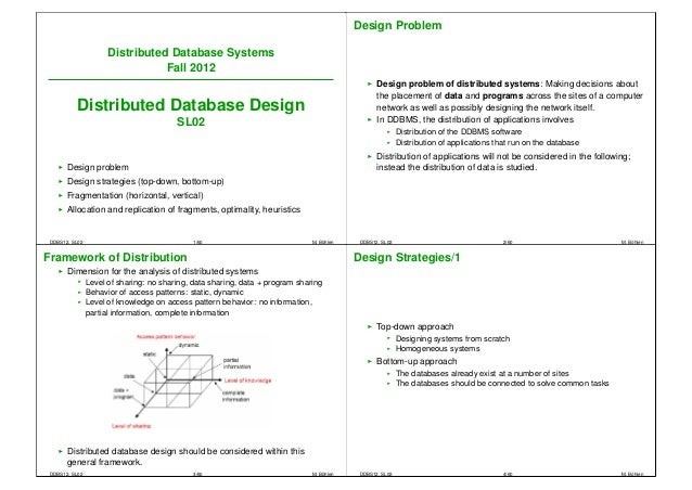 Design Problem                      Distributed Database Systems                                 Fall 2012                ...