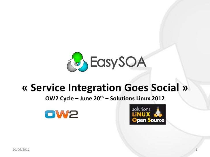 « Service Integration Goes Social »             OW2 Cycle – June 20th – Solutions Linux 201220/06/2012                    ...