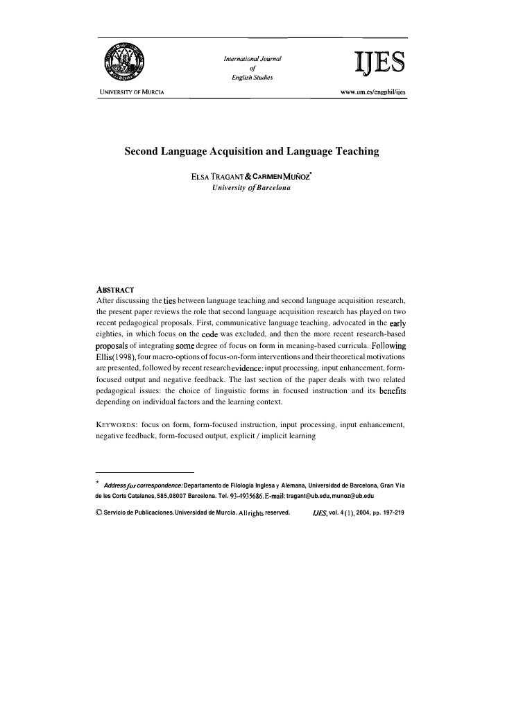 Second Language Acquisition and Language Teaching                                                   &                     ...