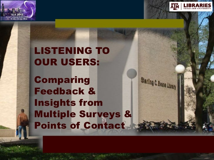 LISTENING TOOUR USERS:ComparingFeedback &Insights fromMultiple Surveys &Points of Contact