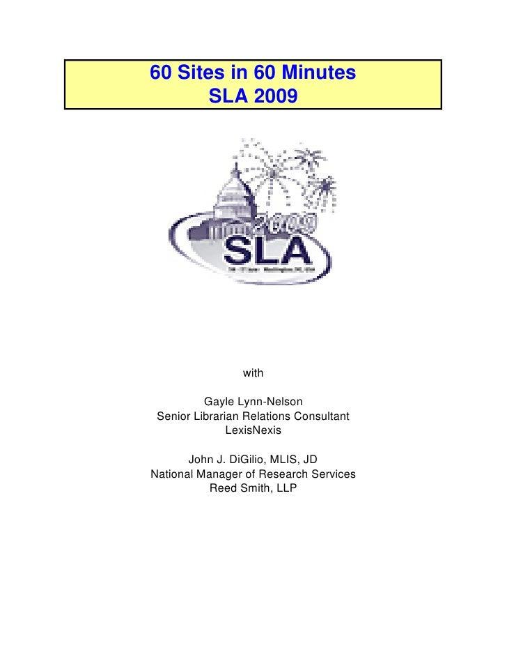 SLA 60 Sites in 60 Minutes 2009 Handout