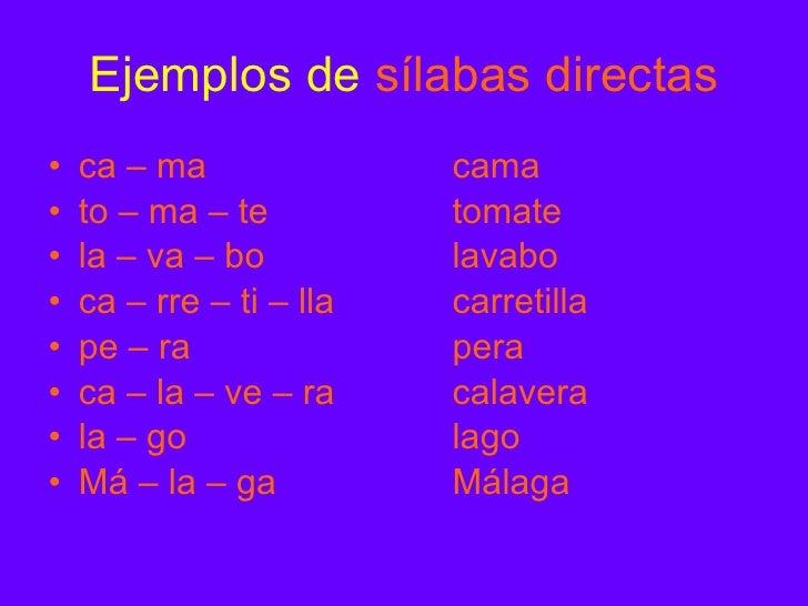 Palabras Silabas Directas Ejemplos de Sílabas Directas
