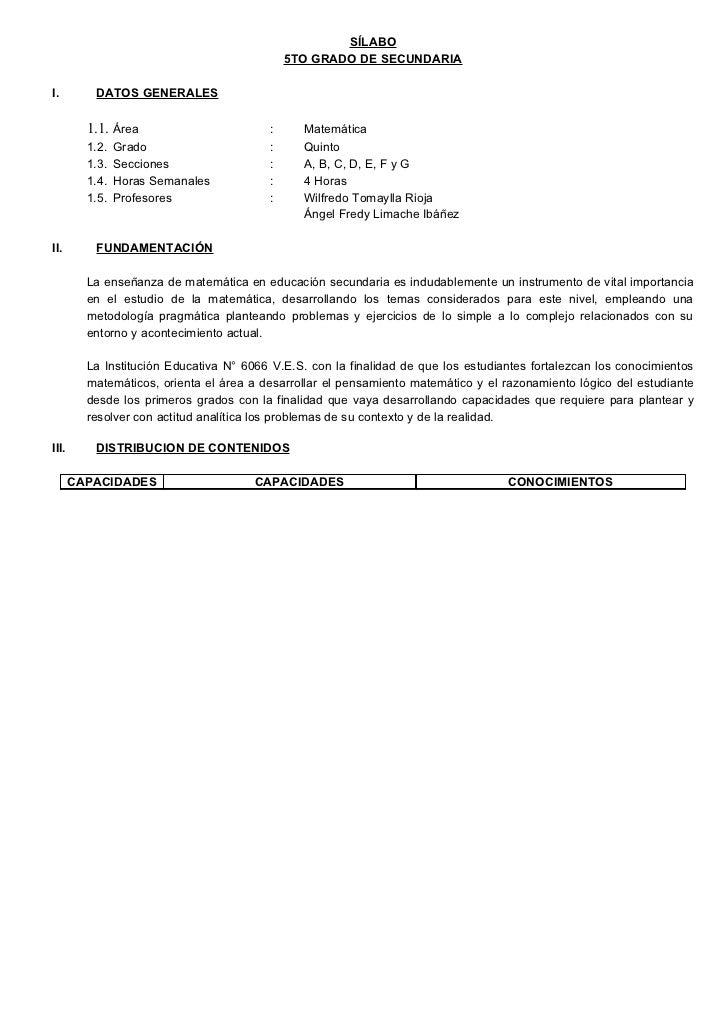 SÍLABO                                              5TO GRADO DE SECUNDARIA  I.        DATOS GENERALES           1.1. Área...