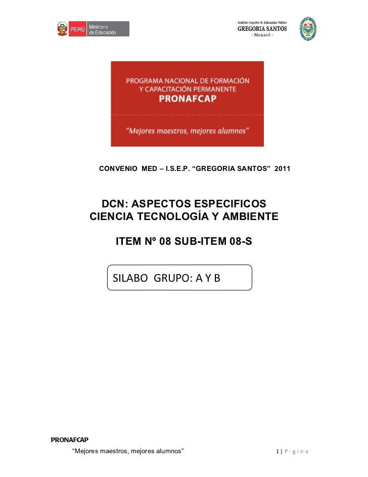 """CONVENIO MED – I.S.E.P. """"GREGORIA SANTOS"""" 2011              DCN: ASPECTOS ESPECIFICOS            CIENCIA TECNOLOGÍA Y AMBI..."""