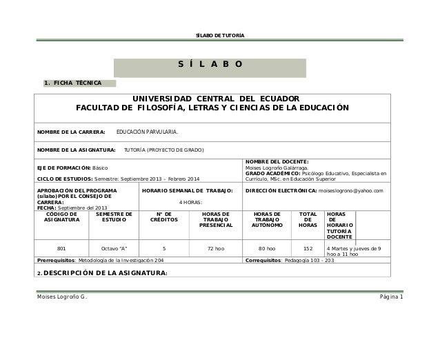 SÍLABO DE TUTORÍA  S Í L A B O M 1. FICHA TÈCNICA  UNIVERSIDAD CENTRAL DEL ECUADOR FACULTAD DE FILOSOFÍA, LETRAS Y CIENCIA...