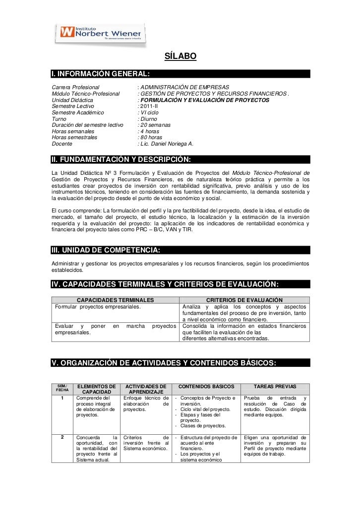 SÍLABOI. INFORMACIÓN GENERAL:Carrera Profesional                  : ADMINISTRACIÓN DE EMPRESASMódulo Técnico-Profesional  ...