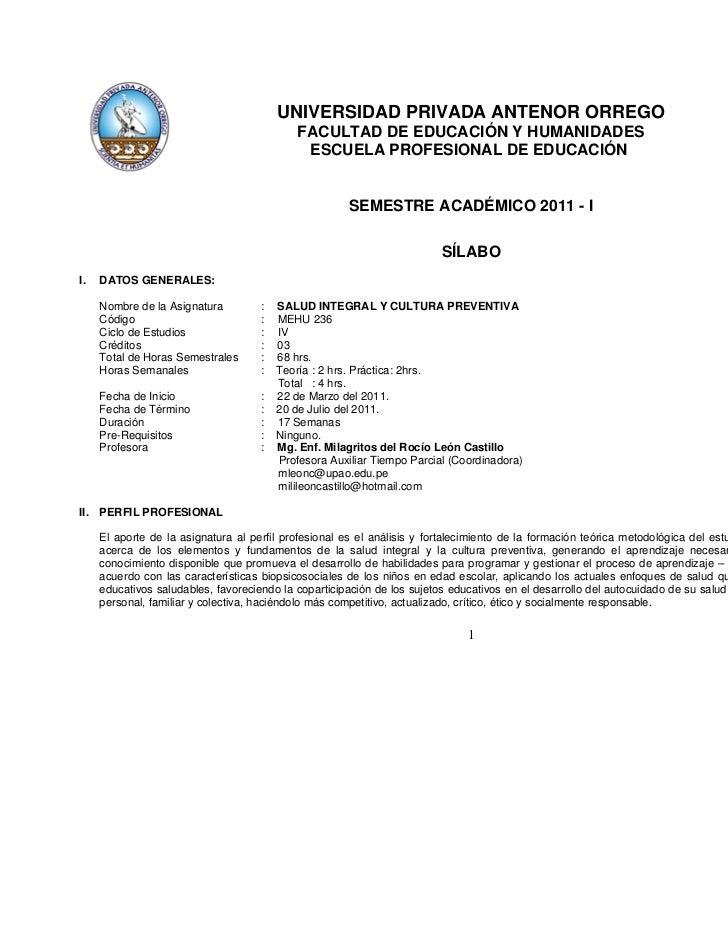 UNIVERSIDAD PRIVADA ANTENOR ORREGO                                            FACULTAD DE EDUCACIÓN Y HUMANIDADES         ...