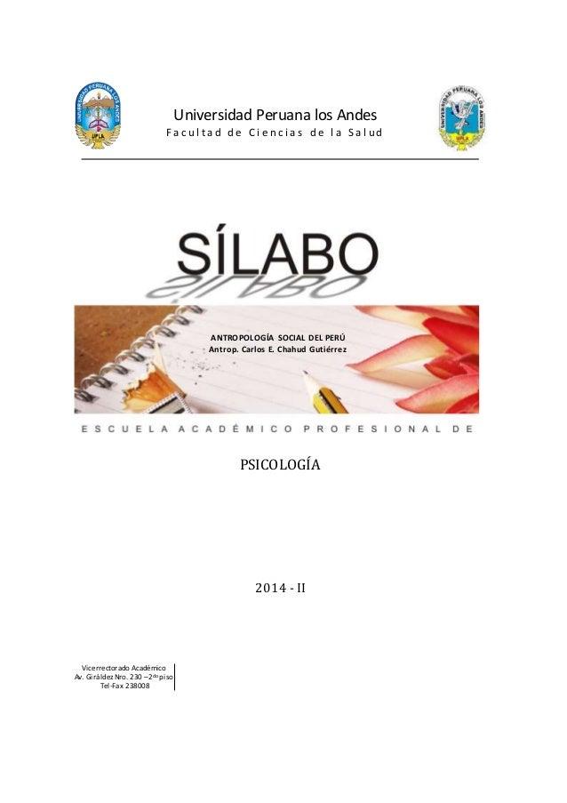 Universidad Peruana los Andes  F a c u l t a d d e C i e n c i a s d e l a S a l u d  PSICOLOGÍA  2014 - II  Vicerrectorad...