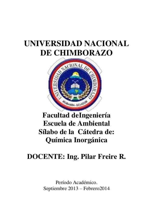 Sílabo química inorgánica eia 2013 2014