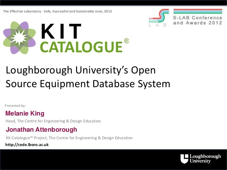 Kit-Catalogue - Loughborough University's Open Source Equipment Database System