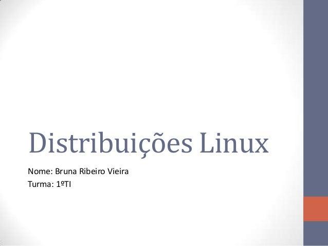 Distribuições Linux Nome: Bruna Ribeiro Vieira Turma: 1ºTI