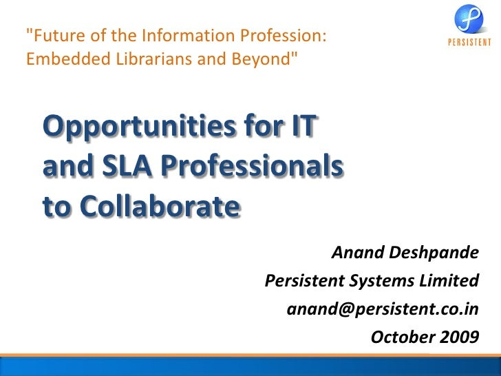 Opportunities for IT and SLA Professionals to Collaborate