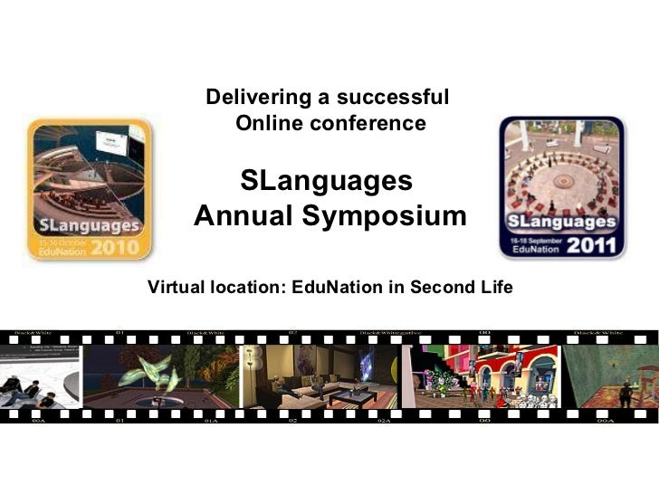 Delivering a successful  Online conference SLanguages  Annual Symposium Virtual location: EduNation in Second Life