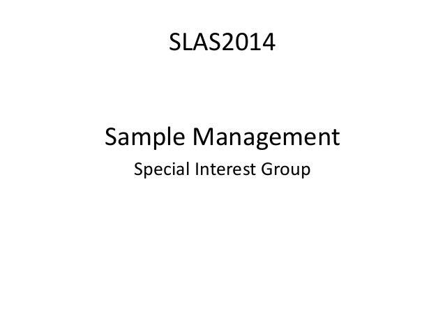 SLAS2014 Sample Management SIG
