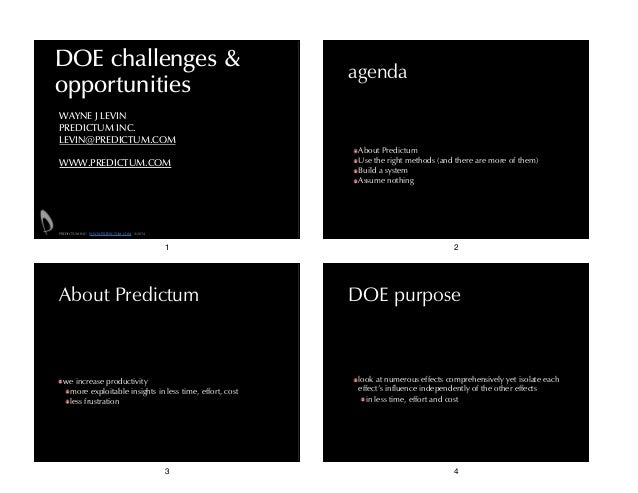 DOE challenges & opportunities  agenda  WAYNE J LEVIN PREDICTUM INC. LEVIN@PREDICTUM.COM !  WWW.PREDICTUM.COM  About Predi...