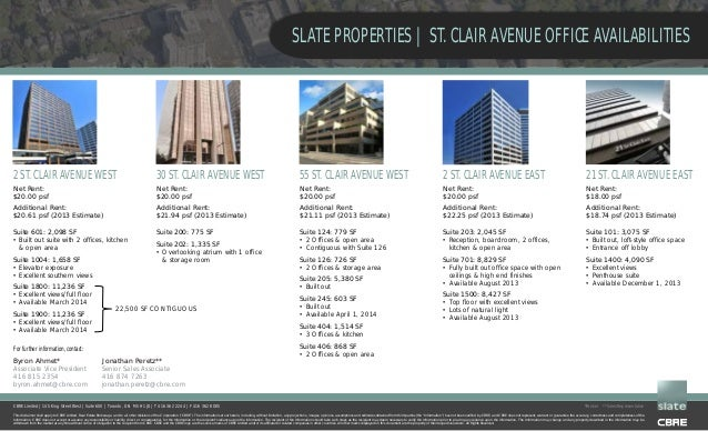 SLATE PROPERTIES | ST. CLAIR AVENUE OFFICE AVAILABILITIES  2 ST. CLAIR AVENUE WEST  30 ST. CLAIR AVENUE WEST  55 ST. CLAIR...