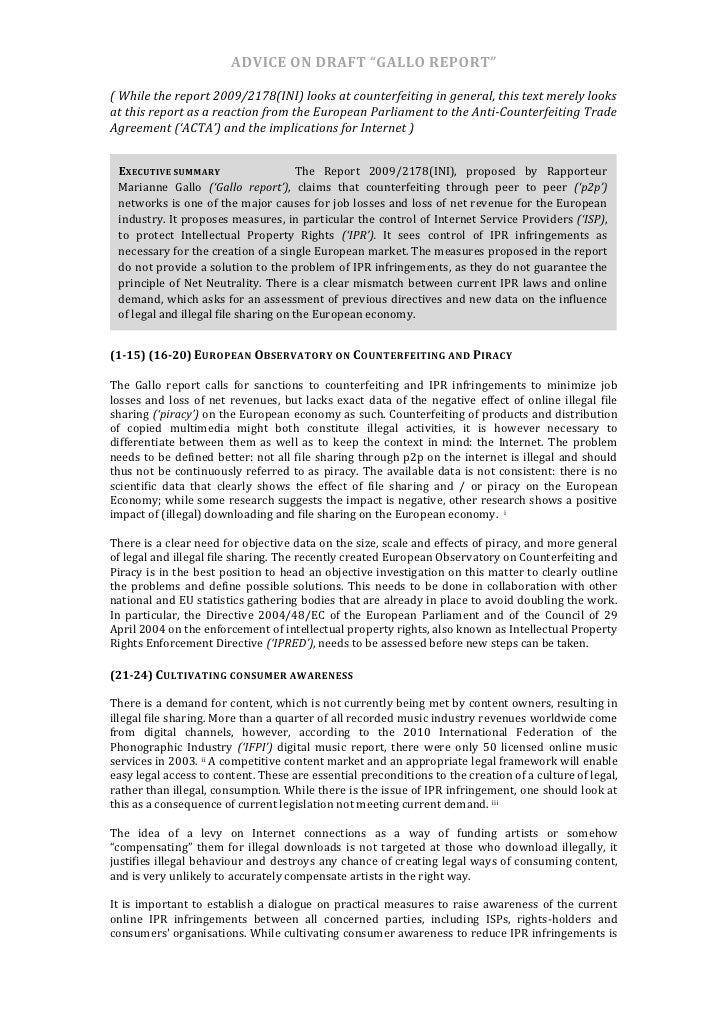 """ADVICE  ON  DRAFT  """"GALLO  REPORT""""      (  While  the  report  2009/2178(INI)  looks  at  counte..."""