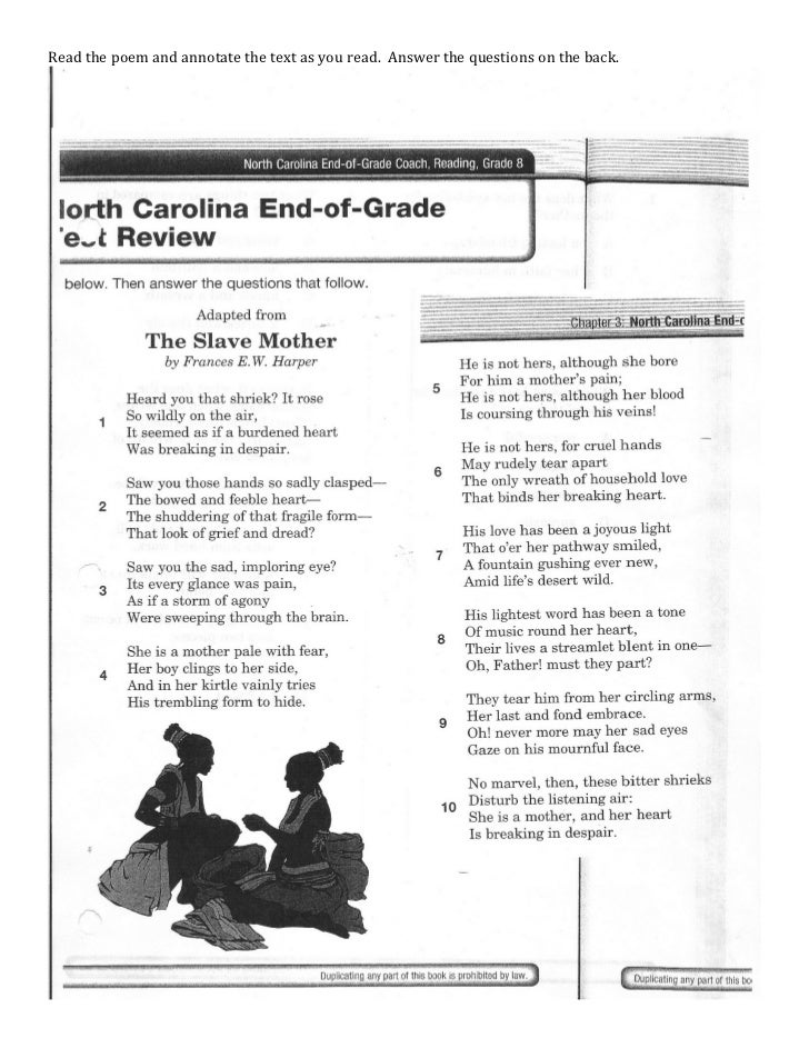 Read the poem and annotate the text as you read. Answer the questions on the back.