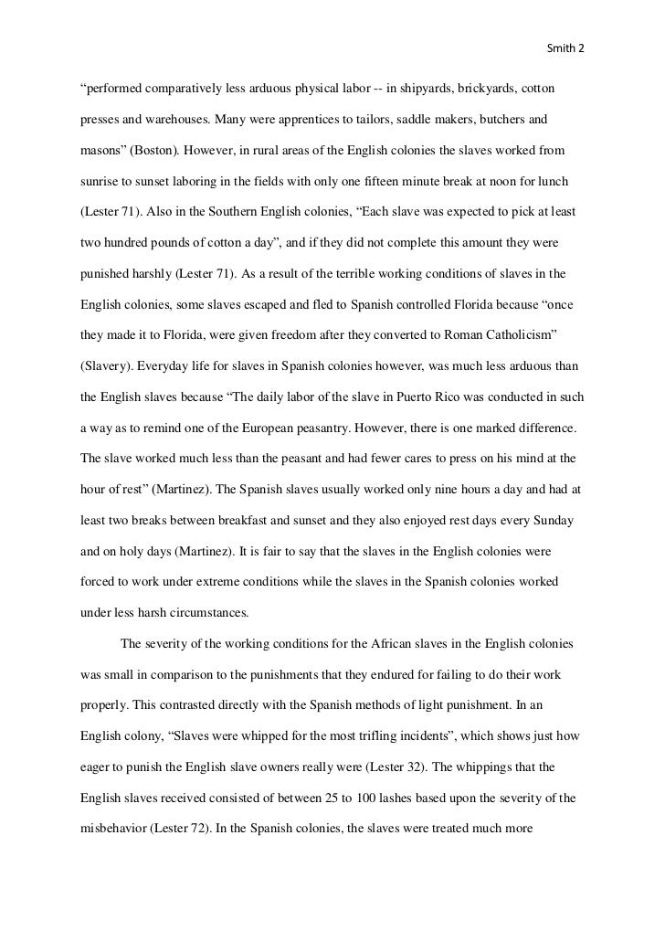 slavery research paper outline Undergraduate level research paper: slavery in the colonial america.
