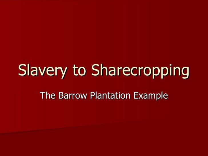 Slavery to Sharecropping The Barrow Plantation Example