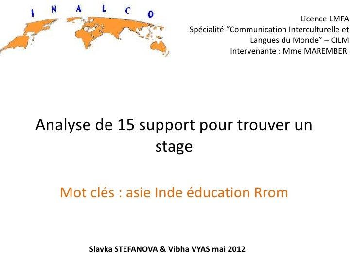 """Licence LMFA                               Spécialité """"Communication Interculturelle et                                   ..."""