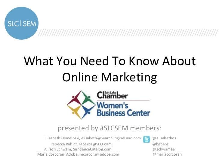 @SLCSEM Presents Online Marketing Basics to Women's Business Council