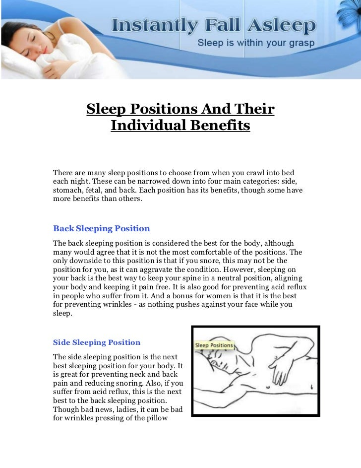Sleep Positions and their Individual Benefits