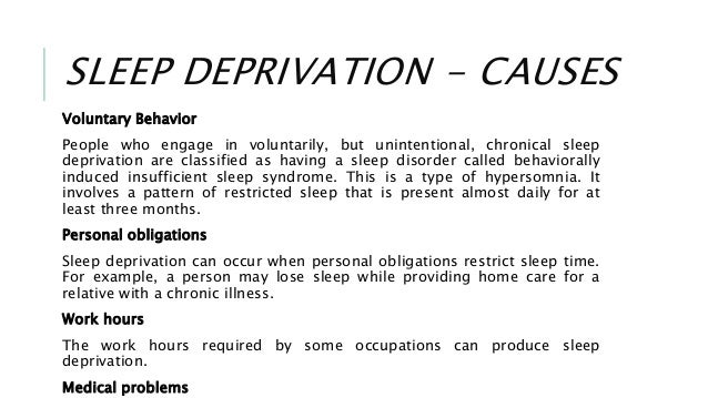 cause and effect of sleep deprivation essay Sleep deprivation can cause forgetfulness sleep deprivation even affects weight sleep has been found to be an important aspect in body weight and metabolism.