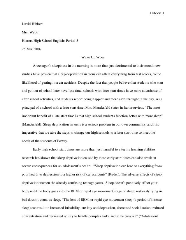 sample of a high school research paper