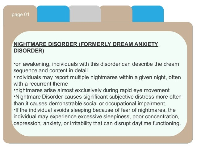 How would I start a term paper on Dream Anxiety Disorder?