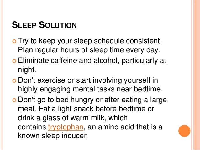 How to solve sleep problems