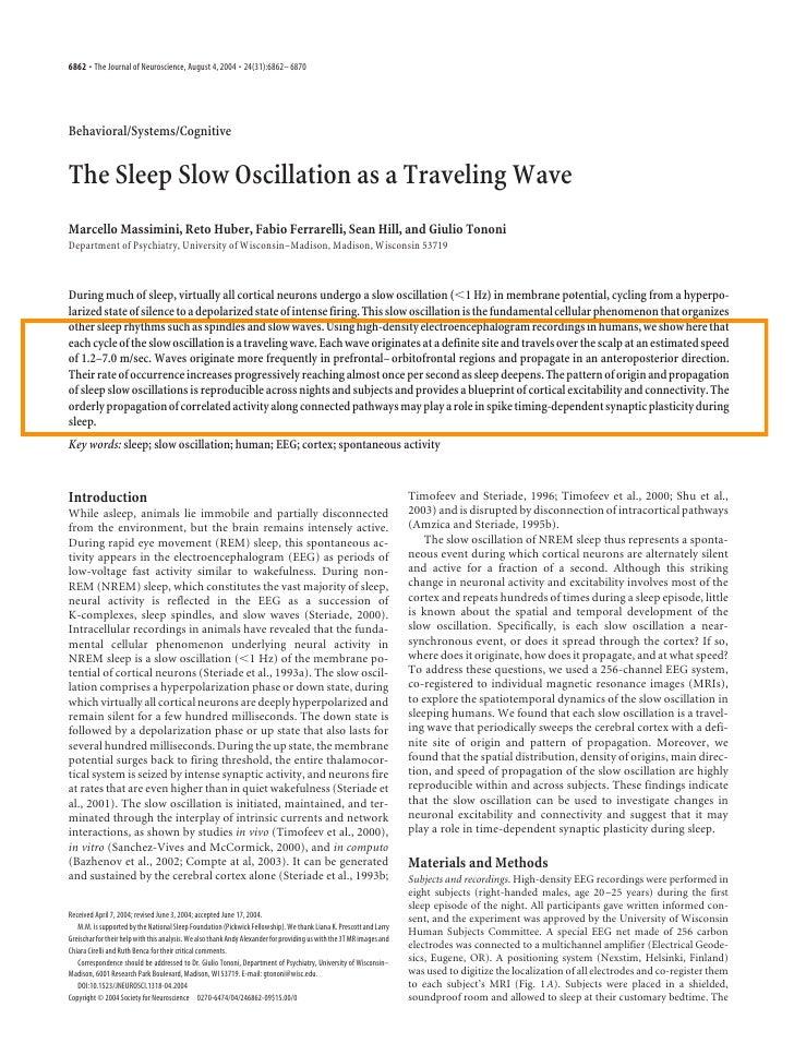 Sleep slow oscillation as traveling wave   massimini tononi jns2004