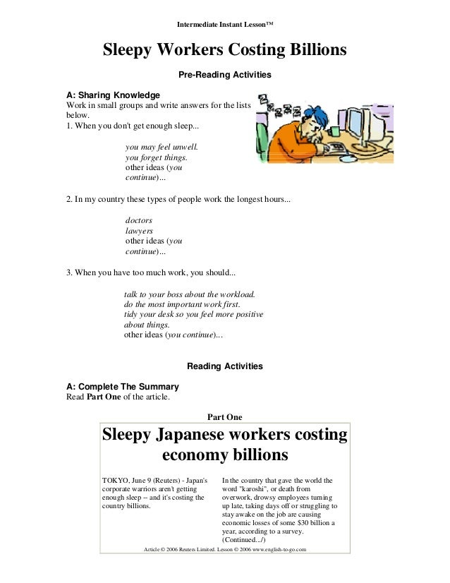 Intermediate Instant Lesson™ Sleepy Workers Costing Billions Pre-Reading Activities A: Sharing Knowledge Work in small gro...