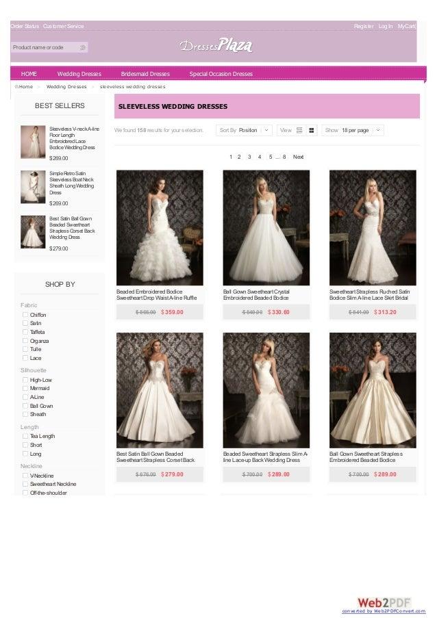 Sleeveless Wedding Dresses at Dressesplaza.com