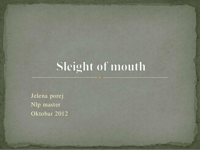 Jelena porejNlp masterOktobar 2012