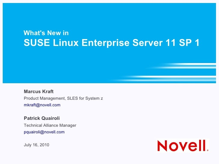 SUSE Linux Enterprise Server  for System z SP1