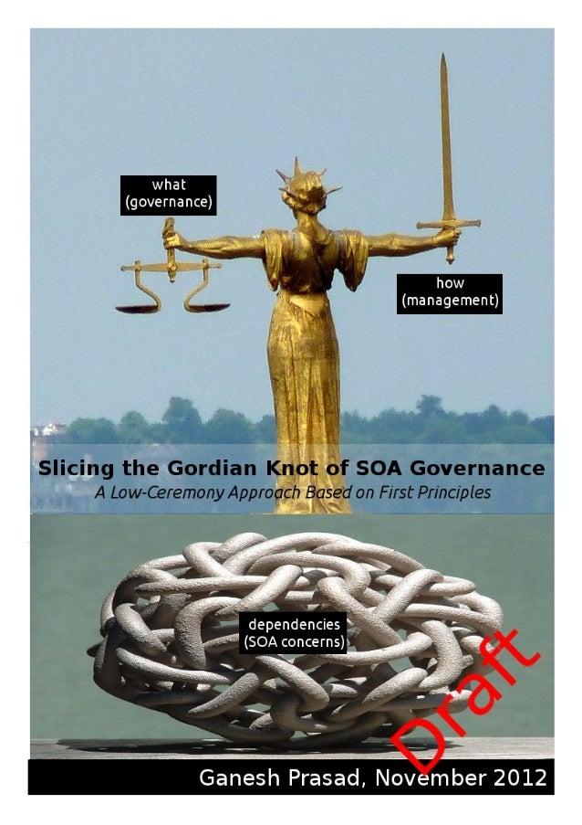 """""""Slicing the Gordian Knot of SOA Governance""""Version 0.99.1, November 2012© Ganesh PrasadThis work is licensed under Creati..."""