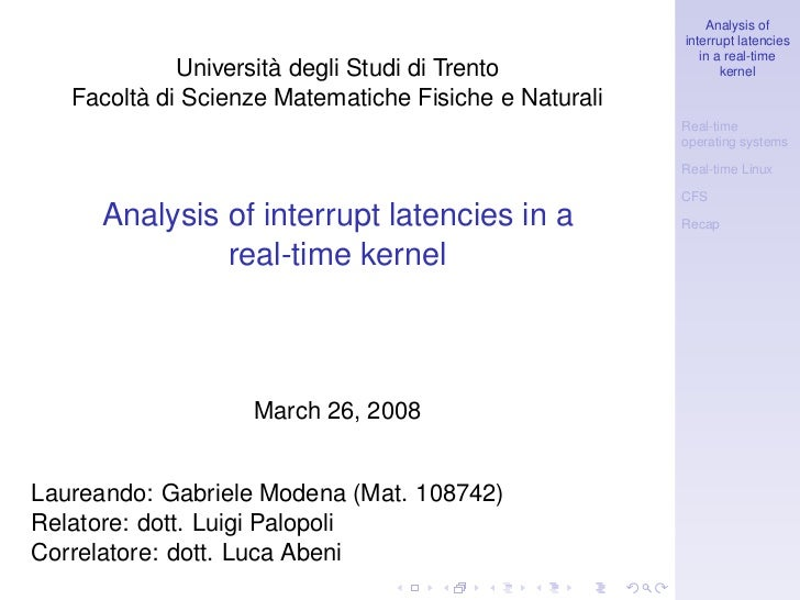 Analysis of                                                       interrupt latencies                                     ...