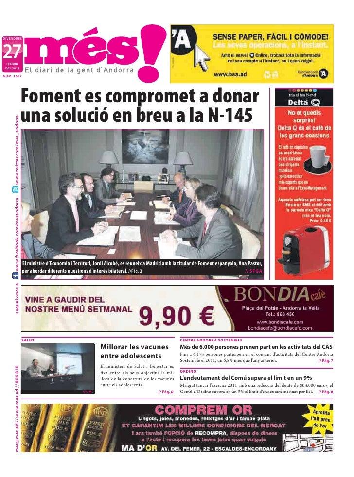DIVENDRES27 D'ABRIL DEL 2012NÚM. 1637                                            Foment es compromet a donar              ...