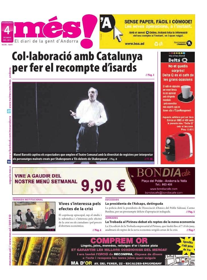 DIVENDRES  4 DE MAIG DEL 2012NÚM. 1641                                           Col·laboració amb Catalunya              ...