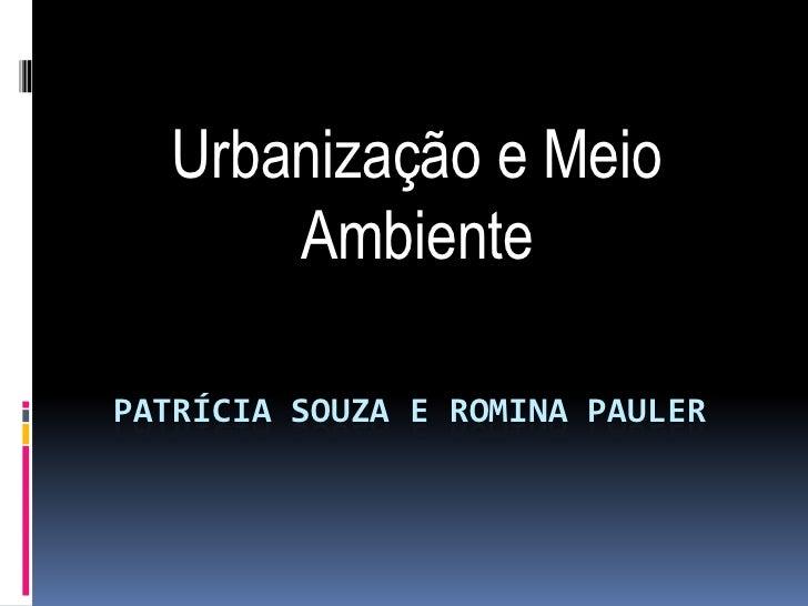 Urbanização e Meio      AmbientePATRÍCIA SOUZA E ROMINA PAULER
