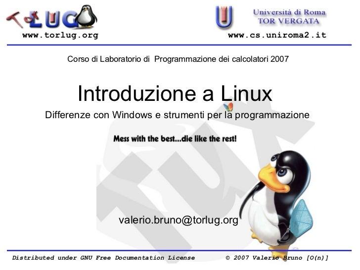 Introduzione a Linux: differenze con windows e strumenti per la programmazione