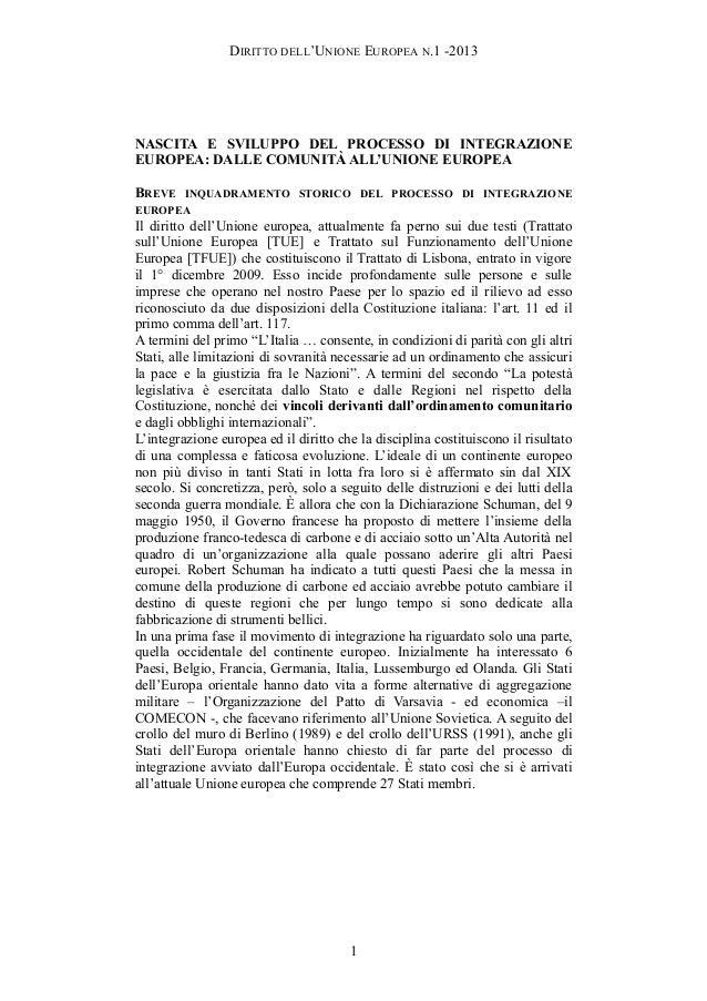 DIRITTO DELL'UNIONE EUROPEA N.1 -2013NASCITA E SVILUPPO DEL PROCESSO DI INTEGRAZIONEEUROPEA: DALLE COMUNITÀ ALL'UNIONE EUR...