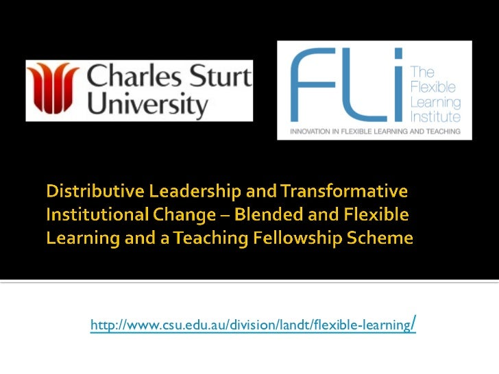 Distributive Leadership and Transformative Institutional Change – Blended and Flexible Learning and a Teaching Fellowship ...