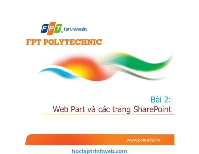 Bài 2: Web Part và các trang SharePoint
