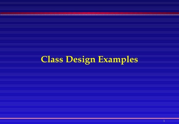 Java: Class Design Examples
