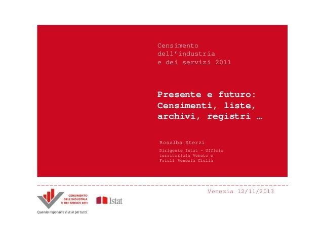 Censimento dell'industria e dei servizi 2011  Presente e futuro: Censimenti, liste, archivi, registri … Rosalba Sterzi Dir...