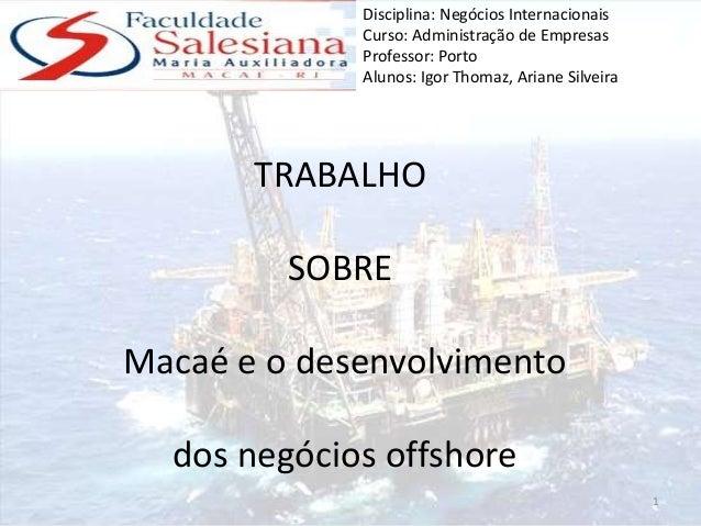 Trabalho Sobre Mercado Offshore na Cidade de Macaé