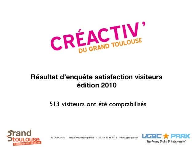 Résultat d'enquête satisfaction visiteurs édition 2010 © UGBC Park http://www.ugbc-park.fr info@ugbc-park.fr06 48 39 18 74...